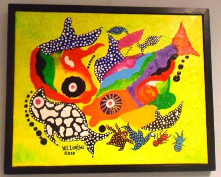 Het gestolen schilderij 'Vivero', door de Bonairiaanse kunstenaar Hellouisa Sint Jago.